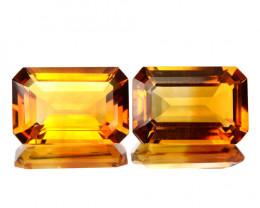 ~PAIR~ 7.19 Cts Natural Golden orange Citrine Octagon Cut Brazil