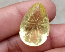 HUGE LEMON QUARTZ CARVED GEMSTONE Natural+Untreated VA1612