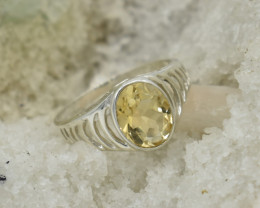 CERTIFIED  RING 925 STERLING SILVER CITRINE  NATURAL GEMSTONE JE1224