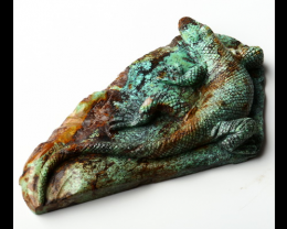 435cts Great Craft Natural Turquoise Hand Carved Lizard specimen ( #0042)