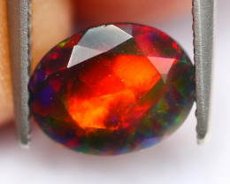 1.32Ct Multi Fire Cloud Ethiopian Welo Black Smoked Faceted Opal~FB17/3
