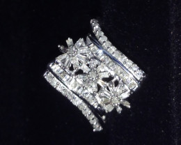 Diamond Floral Ring 0.50ct. In Platinum Over Silver