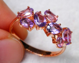 12.35cts Purple Amethyst 925 Sterling Silver Ring US 8.5