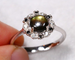 11.7cts Black Star Sapphire 925 Sterling Silver Ring US 7.5
