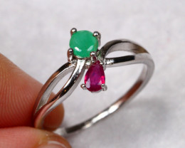 8.75cts Ruby Emerald 925 Sterling Silver Ring US 7