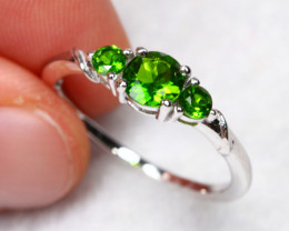 7.85cts Chrome Diopside 925 Sterling Silver Ring US 6