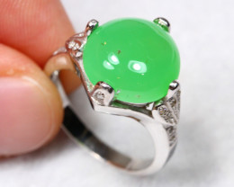 23.8cts Green Chrysoprase 925 Sterling Silver Ring US 5.75