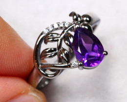 16.1cts Purple Amethyst 925 Sterling Silver Ring US 8