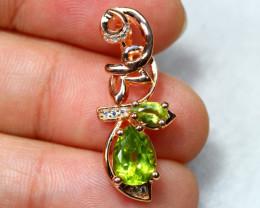 11.95cts Green Peridot 925 Sterling Silver Pendant