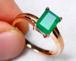 14.9cts Green Aventurine 925 Sterling Silver Ring US7.25