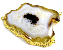 185 Cts. Agate Slice Druzy Pendant electroplated in gold 3