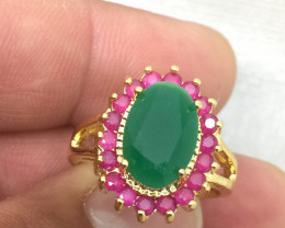(B3) Superb Nat  2.50tcw  Emerald And Ruby Composite Ring