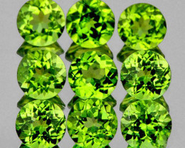 5.0 mm Round 9 pieces 4.90cts Green Peridot (VVS)
