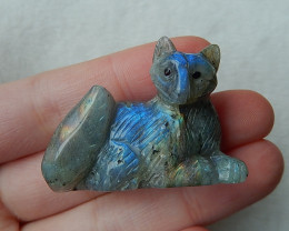 89cts New  Blue flash Labradorite Carved Cat Decoration(G1567)