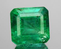 1.39 Cts GLITTERING NATURAL GREEN EMERALD ZAMBIA SQUARE CUT