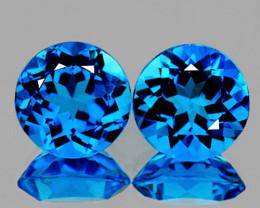 Round 8mm 2 pieces 4.06cts Swiss Blue Topaz