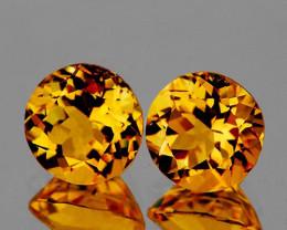 Round 6mm 2 Pieces 1.74cts Golden Orange Citrine