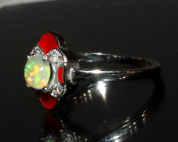 Natural Ethiopian Welo Fire Opal 925 Silver Ring Size ( 6 US) 41