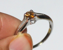 Natural Citrine 925 Sterling Silver Ring Size (6 3/4 US) 10