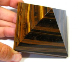BEAUTIFULLY CARVED TIGER EYE PYRAMID 1675 CTS SGS 509