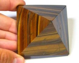 BEAUTIFULLY CARVED TIGER EYE PYRAMID 855 CTS SGS 510