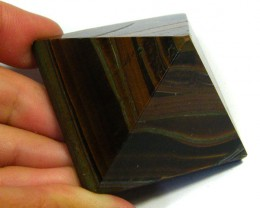 BEAUTIFULLY CARVED TIGER EYE PYRAMID 375 CTS SGS 512