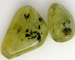 PREHNITE BEAD DRILLED 2 PCS 42 CTS  NP-1593