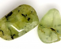 PREHNITE BEAD DRILLED 2 PCS 52.3 CTS   NP-1598