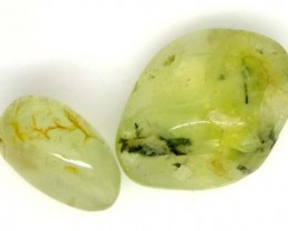 PREHNITE BEAD DRILLED 2 PCS 47 CTS   NP-1575