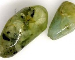 PREHNITE BEAD DRILLED 2 PCS 46 CTS  NP-1594