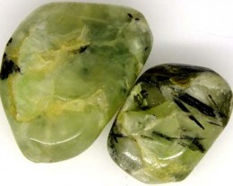 PREHNITE BEAD DRILLED 2 PCS 49.2 CTS NP-1596