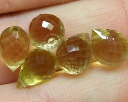 AAAA VS1 FLAWLESS BIOLETTE BEADS LEMON TOPAZ 17.9CTS SGS 832