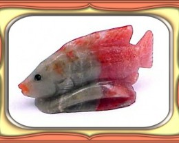 CARVING-32.5ct. Fosslized Red Horn Coral Carved Fish