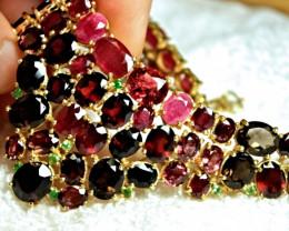 396.0 Tcw. Garnet, Ruby, Tourmaline 925 Silver, 14k White Gold Necklace