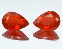 ~PAIR~ 0.93 Cts Natural Reddish Orange Fire Opal Pear Cut Mexico