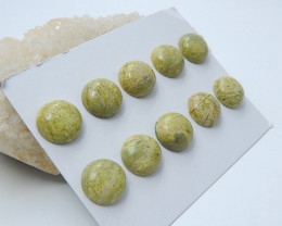 121cts Green round serpentine cabochon healing beads (A643)