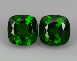 2.00  Cts Eye Catching Natural Rich Green Chrome Diopside Cushion Pair