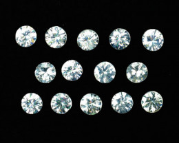 3.44 Cts Natural Sparkling White Zircon 3.5 mm Round 14 Pc Tanzania