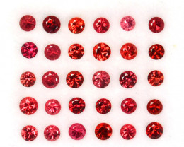2.18 Cts Natural Sparkling Red Spinel 2.5-1.6 mm Round Cut 30 Pcs Tanzania