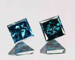 0.14 Cts Natural Electric Blue Diamond 2 Pcs Princess Cut Africa