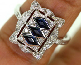13.55CTS ART DECO DIAMOND  SAPPHIRE CLUSTER RING SG-2803