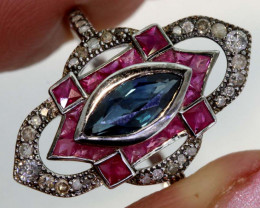 12.80CTS ART DECO DIAMOND RUBY SAPPHIRE CLUSTER RING SG-2809