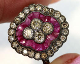 13.05CTS ART DECO DIAMOND RUBY  CLUSTER RING SG-2810