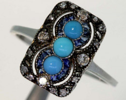 10.90CTS ART DECO DIAMOND TURQUOISE CLUSTER RING SG-2812