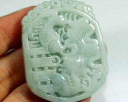 161.5Ct Natural Grade A Carp Carving Jadeite Jade Pendant