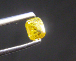 0.33ct Fancy Vivid Orangy  Yellow Brown Diamond , 100% Natural Untreated