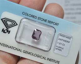 IGI Certificate Natural Purple Spinel 1.51 ct