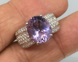 4.64 Carat Amethyst Rose De France Zircon Accents Platinum over Silver Ring