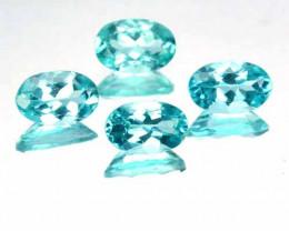 1.92 Cts Natural Apatite 6x4 mm Oval Paraiba Blue green 4 Pcs Brazil