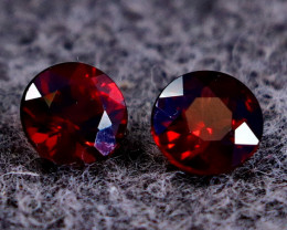 2.00 CT Natural - Unheated Red Rhodolite Garnet Faceted Gemstone Pair